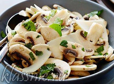 Салат из свежих грибов с кинзой