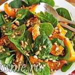Салат из печеной тыквы со шпинатом