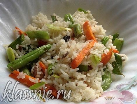 Рис со стручковой фасолью и соевым соусом