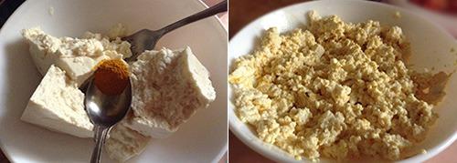 Размять тофу со специями