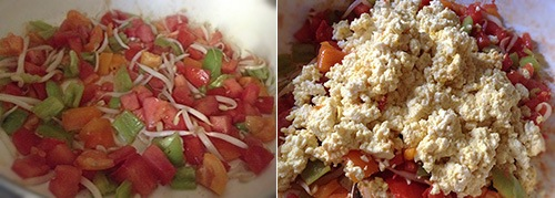 Овощи на сковороде с тофу