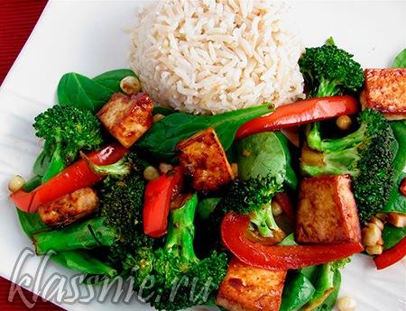 Обжаренные овощи с тофу