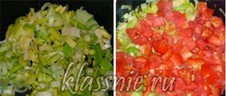 Жареный лук и помидоры