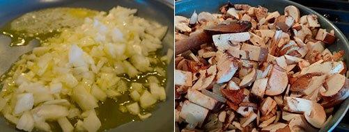 Подготовить грибы и лук