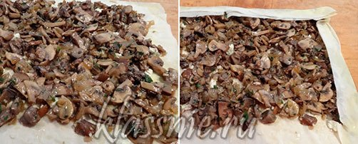 Слой грибов на штруделе
