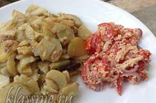 Жареный картофель под сливками
