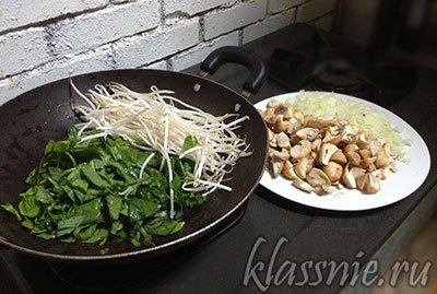Грибы, лук и овощи