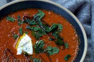 суп из баклажанов и помидоров с чечевицей