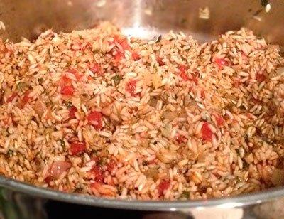 Отварной рис с зеленью