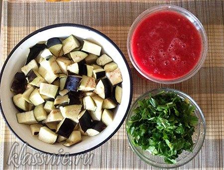 Петрушка, синенькие и помидоры