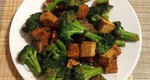 Жареный тофу с капустой брокколи