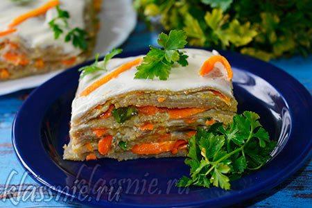 Торт из зеленой чечевицы с майонезом (закусочный)