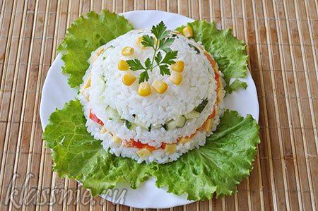Салат с рисом без яиц