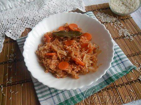 Тушеная капуста с рисом