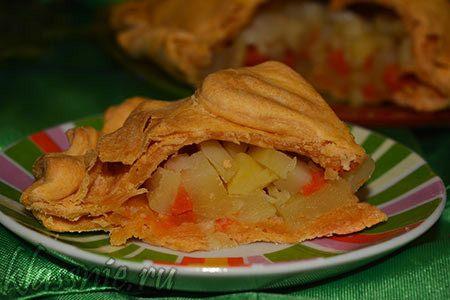 Пирог с овощами на томатном соке