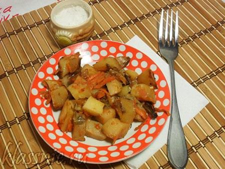 Картофель с грибами в рукаве для запекания
