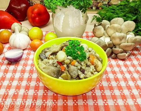 Перловка с вешенками, овощами и фасолью
