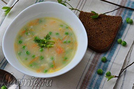Постный суп с зеленым горошком
