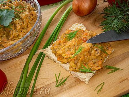 Паштет из моркови и сыра с грибами, постный рецепт