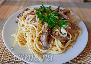 Паста с дор блю и грибами за 15 минут