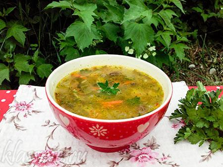 Грибной суп с щавелем