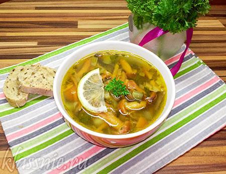 Суп с грибами и лимоном
