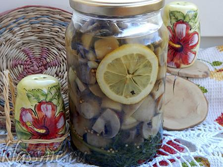 Грибы на зиму с соком лимона