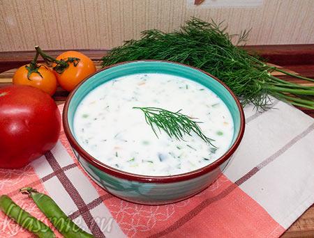 Вегетарианская окрошка на кефире: рецепт с фото