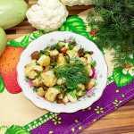 Салат с цветной капустой, овощами и фасолью