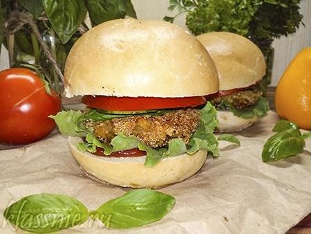 Вегетарианский бургер с котлетой из нута — рецепт с фото