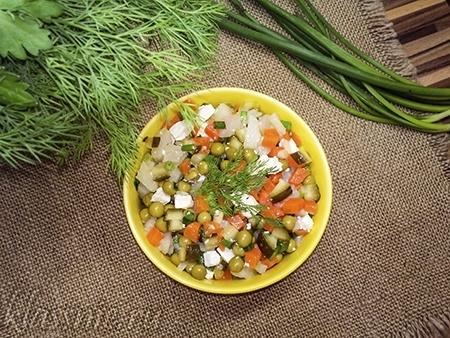 Постный салат оливье с тофу