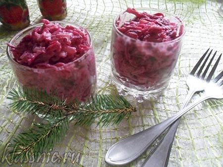 Простой салат из свеклы вареной, без майонеза