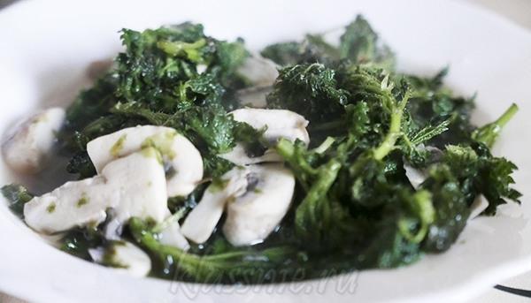 Суп из крапивы с грибами и водорослями нори