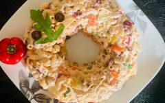 Салат с макаронами рожки и фасолью