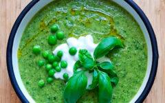 Крем суп из замороженного зеленого горошка